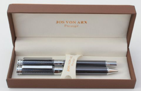 Jos Von Arx Prestige WR07 Ballpoint and Rollerball Grey Clear Lacquer Pen Set